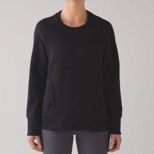 Lululemon Back To It Crew New Sweatshirt Black Cotton Fleece Sz 10